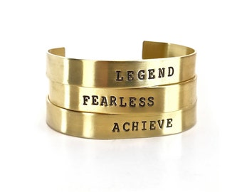 Brass Word Cuff - Inspirational Jewelry - Gym Jewelry - Custom Bracelet - Men's Jewelry - Gifts For Him by Modern Jock