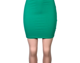 Green Spandex High-Waisted Pencil Mini Skirt - bodycon club or rave wear