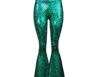 Mermaid Bell Bottoms - Green Metallic Scales Pants  - Yoga, Rave, Festival, EDM, 80s Clothing - High Waisted