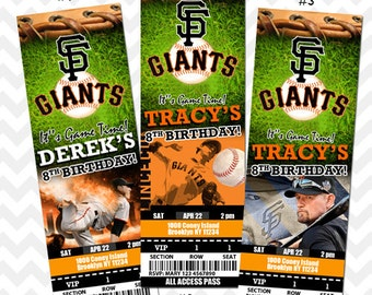 San Francisco Giants Invitation, Giants Birthday Party, Giants VIP Pass, Giants Ticket Invitation, San Francisco Save the Date, Baby Shower