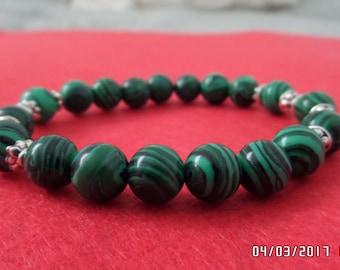 Malachite Natural stone elastic bracelet, malachite jewelry,