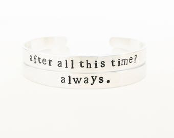 After all this time? Always. // Harry Potter Jewelry + Cuff Bracelets + Deathly Hallows Bracelet + Silver Harry Potter + Snape + Friendship