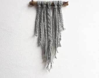 Small Grey Wall Hanging, Grey Boho Wall Decor, Small Bohemian Decor, Bohemian Room Decor, Grey Boho Tapestry, Small Grey Macrame, Wall Decor