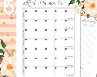 Meal Planner, Grocery List, Printable, Meal Planning, Meal Prep, Menu Board, Groceries, Budget, Recipe Rating, Family Meal Planner Notebook,
