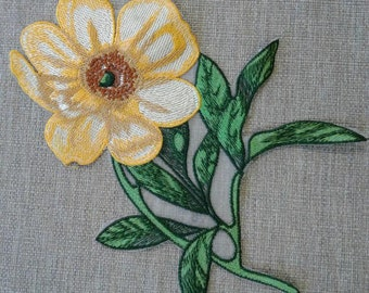 Sew on yellow flower patch applique