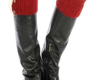 Red Crochet Boot Warmers Red Crochet Leg Warmers Knitted Boot Cuffs Button Boot Cuffs Lace Trim Boot Cuffs Womens FREE U.S. SHIPPING