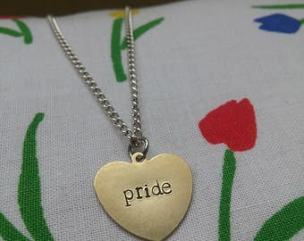 Pride ~ Dainty Brass Gold Heart Shaped Pendant Necklace ~ Gay, Lesbian, LGBT ~ Handmade Hand Stamped Alternative Jewellery Gift