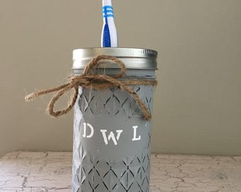 Mason Jar Decor, Bathroom Decor, Toothbrush Holder, Home Decor, Rustic Decor
