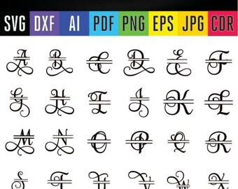 Split letters Svg alphabet Samantha split font letters SVG DXF Eps Silhouette Png Pdf Jpg Ai Cdr) files for Silhouette, Cricut, Cameo