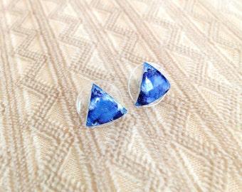 Blue stud earrings, stud earrings, handmade earrings, earrings, simple earrings, everyday earrings, minimal earrings, triangle studs.