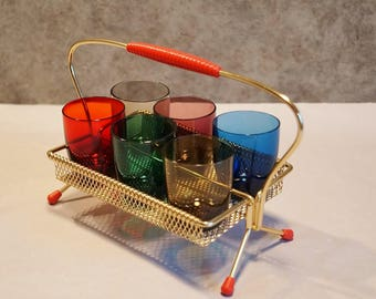 Vintage shot glasses set. 50s - 60s years. Best State. Multi color shot glasses with display rack. Mid century Germany.
