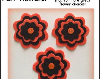 Felt flowers Ready to ship! set of 3, 4 layers orange black Halloween applique scrapbooking button die cut shapes motif embellishment notion