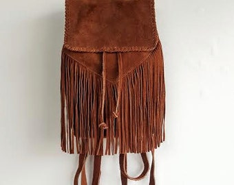 Genuine Suede Fringe Boho Backpack BARGANZA