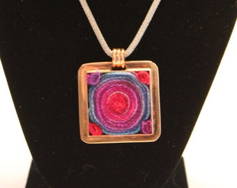 Copper square and wool pendant
