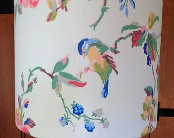 "Birds & Roses White or Duck Egg Blue Lampshade 8"" 10"" 12"" 14"" Drum Shade for Ceiling Standard Table Bedroom in Cath Kidston Made to order"