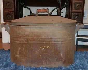 Vintage Galvanized Tub Oval-Antique Trough-Primitive wash tub-Farmhouse Rustic Decor