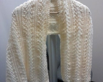 SCARF - Hand knitted, fan stitch scarf/shawl.