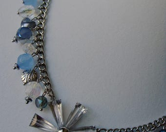 Leslie - Repurposed and upcycled necklace featuring crystals and blue charms, HelloMissyArt