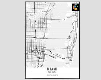 Miami Map Art Print, Poster Map of Miami Decor, Miami City Map Art, Miami Gift, Miami Art Poster