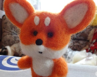 Wool fox, needle felted fox, felted fox toy