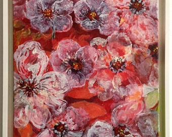 Flowers abstract oil paintings-3D effect-pink flowers-contemporary art-including white baklijst-Dim. 46 x 65 cm