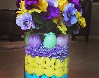 Easter centerpiece, Easter Decor, Easter Decoration, Peeps Decor, Peeps decoration, Easter flowers, Easter Egg Decor, Easter Table Setting