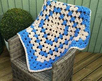 crochet throw, granny square throw, granny square afghan, square blanket, lap blanket, handmade crochet giant granny square