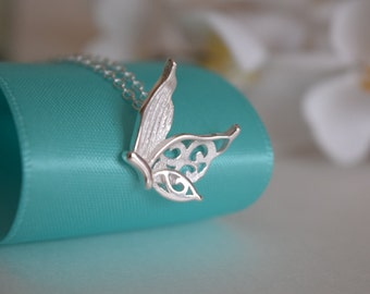 Butterfly Sterling Silver Necklace, Sterling Silver Necklace, Silver Necklace, Butterfly Necklace, .925 Necklace, Gift For Her