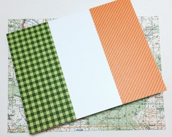 handmade card // irish flag // ireland // irish // st. patrick's day // flags of the world // recycled materials // eco friendly packaging
