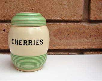 "TG GREEN STREAMLINE ""Cherries"" Spice Jar c1930s Made in Church Gresley"