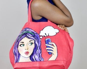 Hand-Painted PopArt Leather Bag