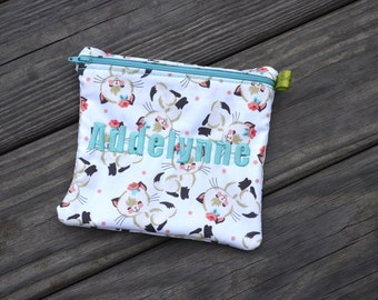 Reusable Sandwich Bag, Kitty, Vintage, Roly Poly Kitten, Cats, Snack bag, Teacher Gift, party favor, washable bag, Zippered Sandwich Bag