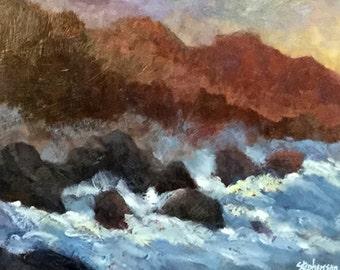 """Original Oil Painting Framed Landscape """"Crashing"""""""