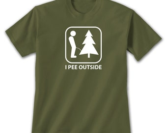 I Pee Outside T-Shirt, Funny Camping Hiking Exploring Humor For Outdoor Nature Lovers Potty Joke Bathroom Symbol