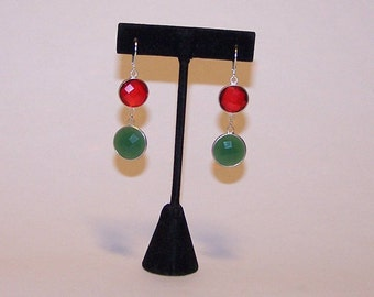 Colors red and green Crystal EARRINGS