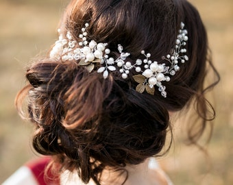 Ivory Bridal Hair Vine, Bridal Headpiece, Flower Headpiece, Crystal and Pearl Wedding Hairpiece, Wedding hair vine, Wreath, Bridal Hair Halo