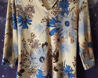 Vintage 1970s Women's Floral Pattern Blouse; Teddi of California