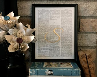 """Dictionary Page Wall Art - Frame Included- Initial - Monogram - """"S"""" - Gold Embossed Lettering - only ONE available"""