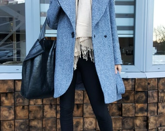 Tweed coat owersize style woman