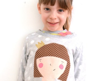 Custom tshirt with fabric baby and child portrait