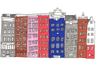 Amsterdam Architecture Drawing - Fine Liner Coloured Illustration Print