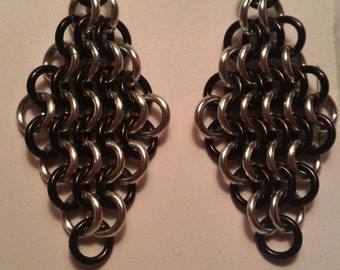 "Black/Bright ""Silver"" Chain Maille (European 4-1) Earrings"