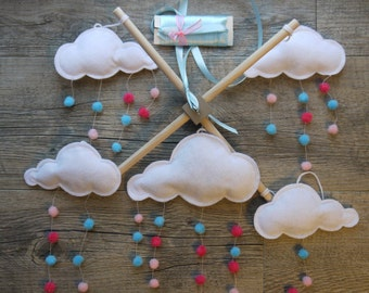 """Mobile baby felt """"the clouds and the rain dance"""", white, pink and blue"""