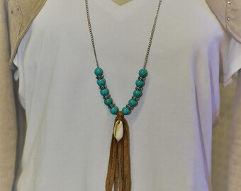 Brown Suede Tassel with Shell & Turquiose Necklace