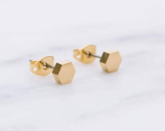 Dainty Hexagon Earrings / Solid Hexagon Studs / Geometric Earring Studs