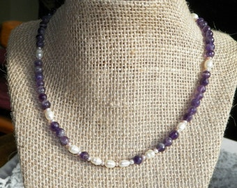 Stunning Amethyst and White Freshwater Pearl Necklace
