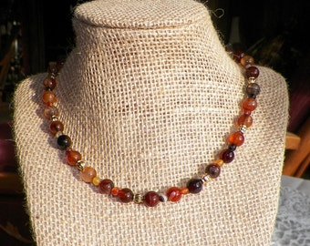 Gorgeous Red and Black Agate Necklace