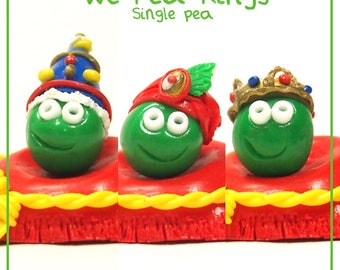 We Pea Kings (Singles) - Cute Polymer Clay Charm / Keyring / Ornament (King Peas)