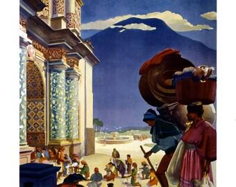 "Guatemala via Pan American Vintage Travel 1938 Poster 11"" x 17"""