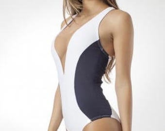 Gray and White One Piece Swimsuit - Swim Suit - Sexy One Piece - Cheeky Swimsuit - Swimsuits for Women - Brazilian One Piece - Bodysuit